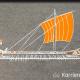 Kreidezeichnung auf Schiefertafel: Antikes Schiff