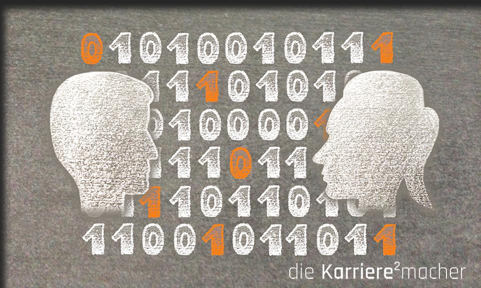 Kreidezeichnung auf Schiefertafel: Zwei Köpfe in Seitenansicht, im Hintergrund befinden sich Reihen von Nullen und Einsen als Zeichen der Digitalisierung im Mentoring