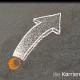 Kreidezeichnung auf Schiefertafel: Gebogener Pfeil, der von einem Punkt aus startet