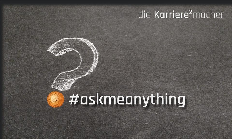 Kreidezeichnung auf Schiefertafel: Fragezeichen. Mentoring-Fragestunde #askmeanything