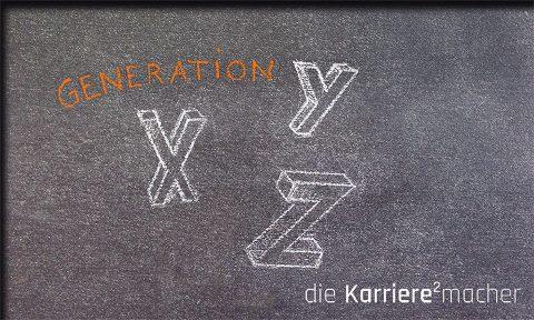 Kreidezeichnung auf Schiefertafel: Generation XYZ